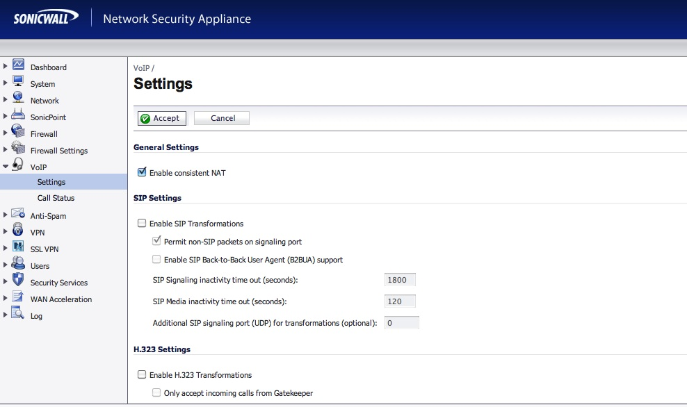 Asterisk with Sonicwall TZ100 - Informatica