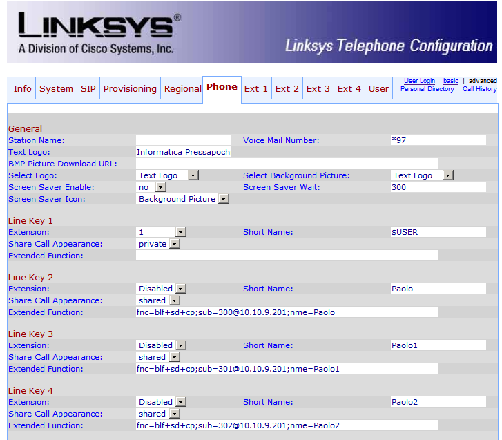 LinkSys SPA942 - BLF Config
