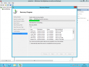Restore in Windows 2012